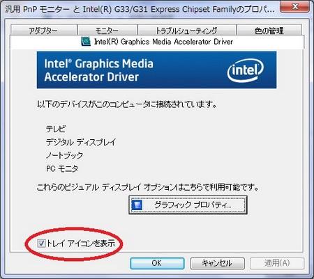 グラフィクスドライバーのタブをクリックし、その中の「トレイアイコンを表示」のチェックボックスのチェックを外すとトレイアイコンを非表示にできます。