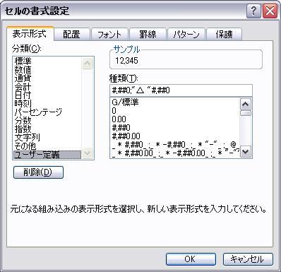 その後表示形式タブの分類からユーザー定義を選択して表示方法を設定